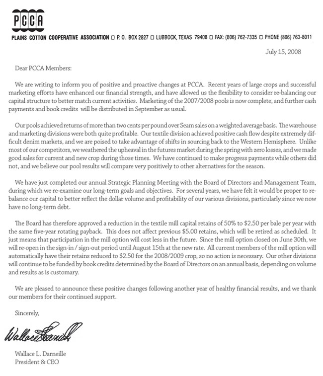 PCCA Letter